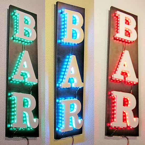 .CARTEL ROTULO BAR ILUMINADO CON LEDS DE COLORES