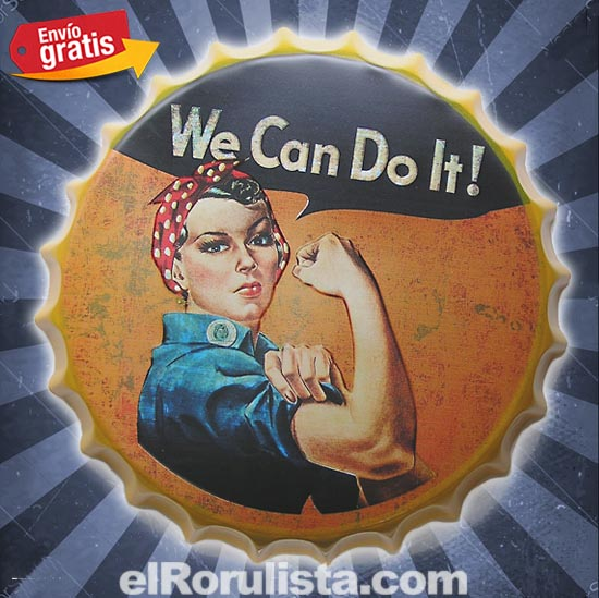 CHAPA METALICA VINTAGE MUJER WE CAN DO IT