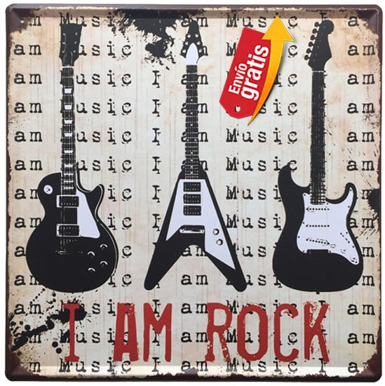 PLACA METALICA VINTAGE CON GUITARRAS DE ROCK