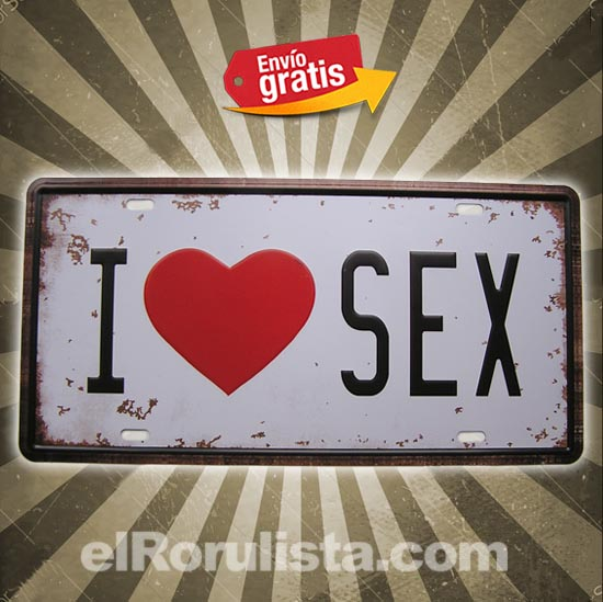 PLACA METALICA VINTAGE MATRICULA LOVE SEX CORAZON
