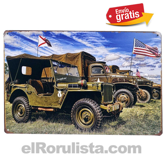 PLACA METALICA VINTAGE AUTOS JEEP MILITARES USA