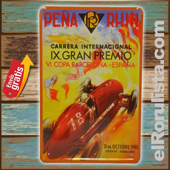 PLACA METALICA VINTAGE CARRERA AUTOS ANTIGUOS