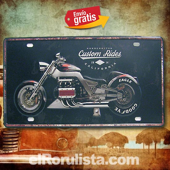 PLACA METALICA VINTAGE MATRICULA MOTOCICLETA CUSTOMIZADA USA