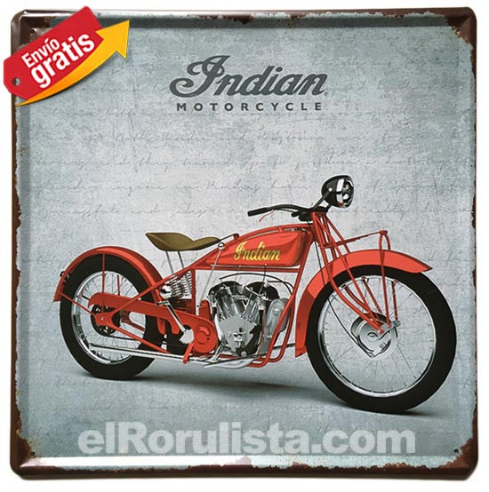 PLACA METALICA VINTAGE MOTOCICLETA INDIAN USA AMERICA