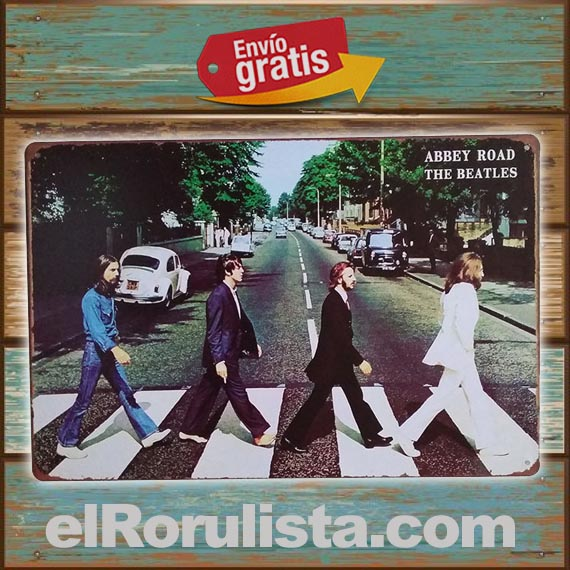 PLACA METALICA VINTAGE GRUPO THE BEATLES ABBEY ROAD