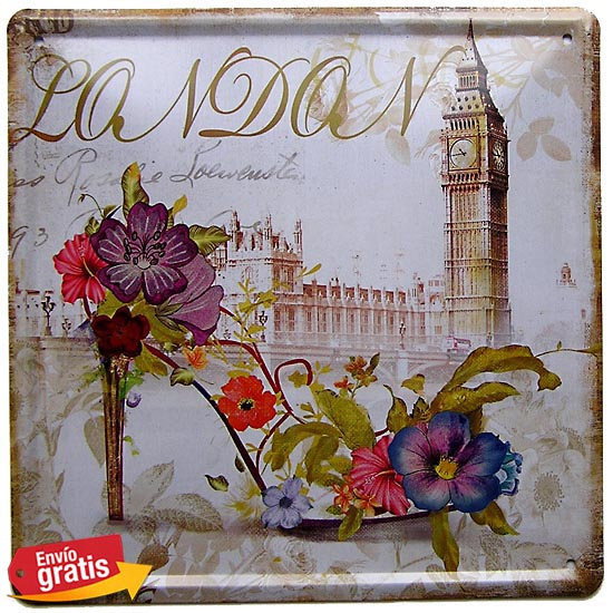 PLACA METALICA VINTAGE CON TORRE BIG BEN LONDRES